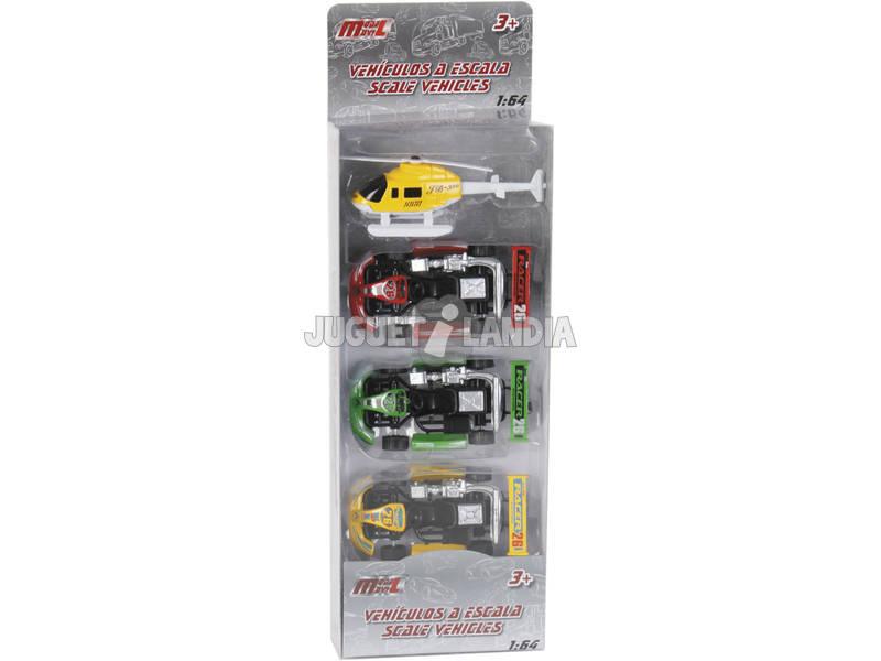 Set 3 Macchine Racing 9 cm ed Elicottero Giocattolo