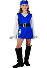 Disfraz Pirata Azul Niña Talla M