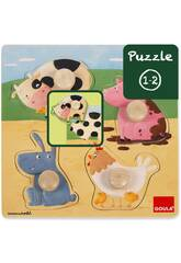 Puzzle Animales Granja Color