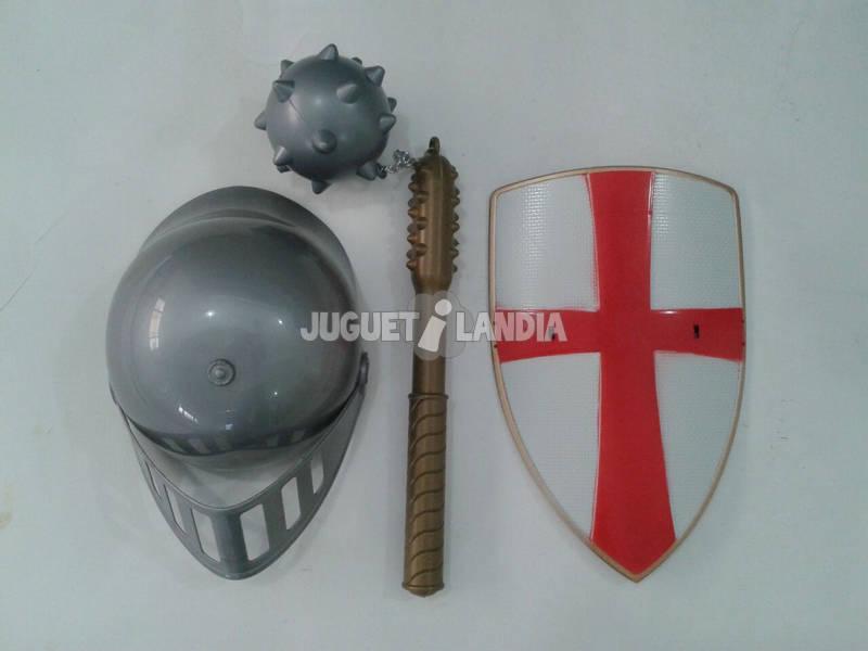 Set Cavaleiro com Escudo, Capacete e Arma de Arremesso