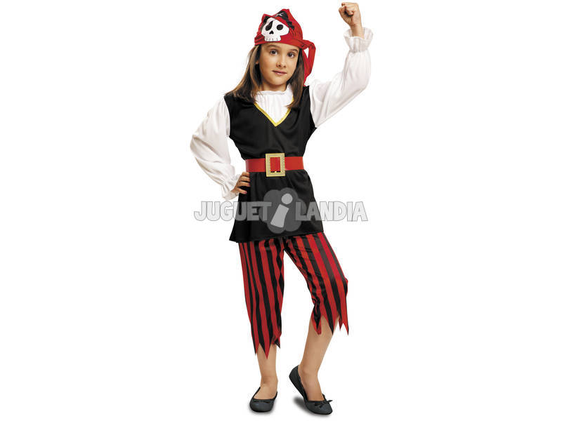 Costume Bambina S Pirata Teschio con Foulard