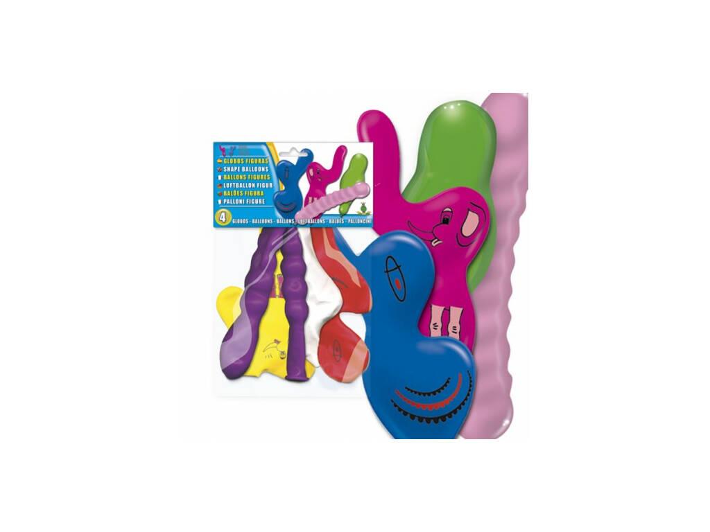 Bolsa de 4 balões figuras coloridas animais Globolandia 5207
