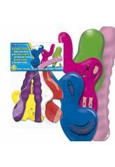 Bolsa de 4 globos colores figuras animales Globolandia 5207