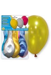 imagen Bolsa de 12 globos colores metalizados Globolandia 5108