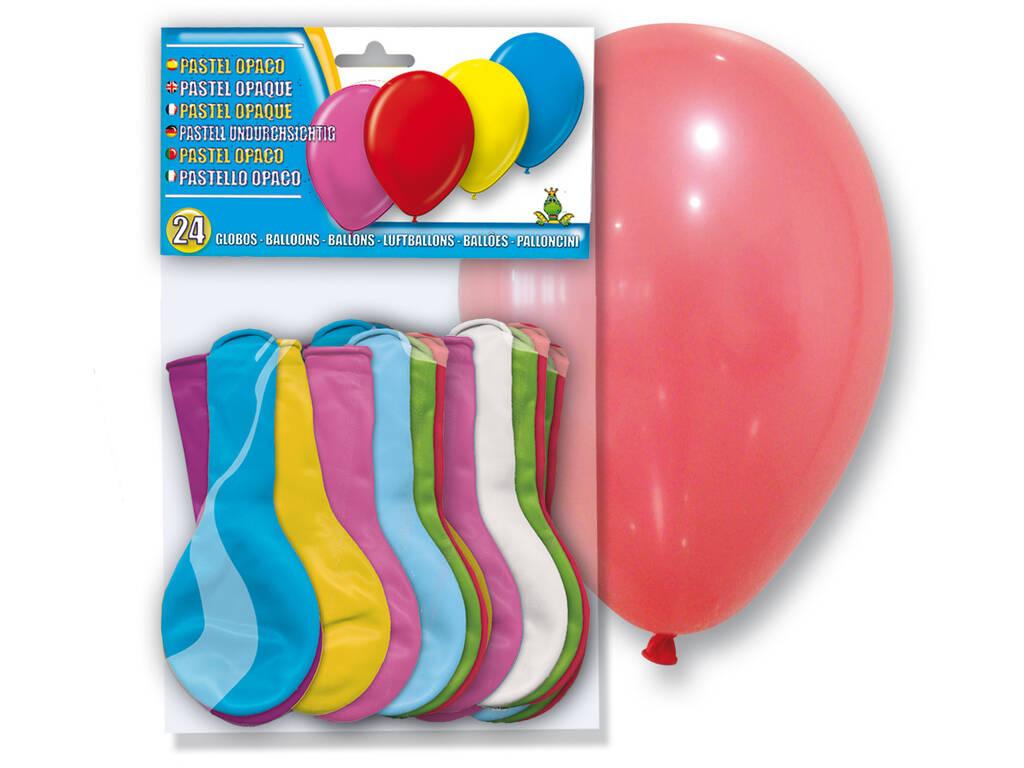 Bolsa de 24 balões coloridos Opacos Globolandia 5105