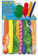 imagen Bolsa 20 globos colores opaco formas Globolandia 5104