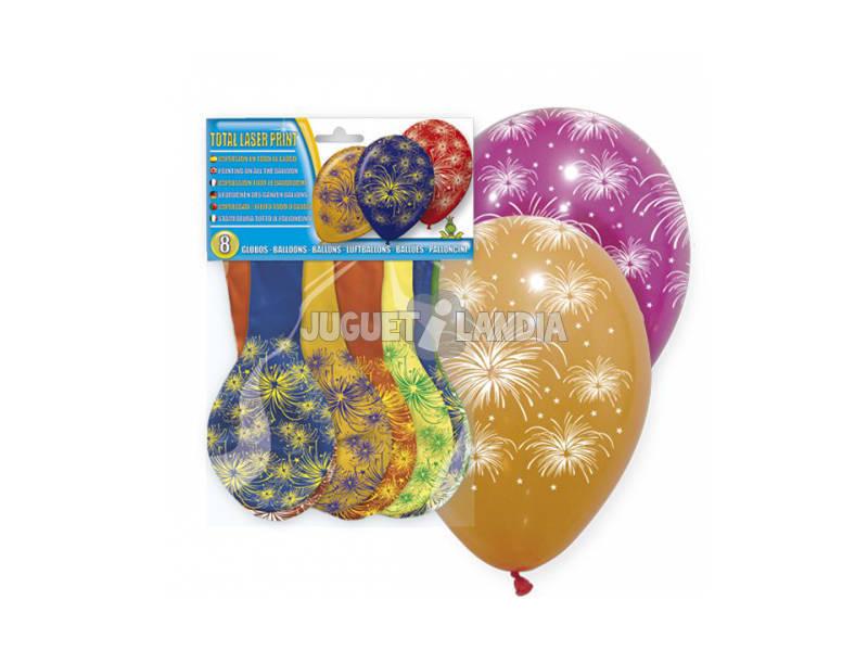 Bolsa de 8 globos fuegos artificiales