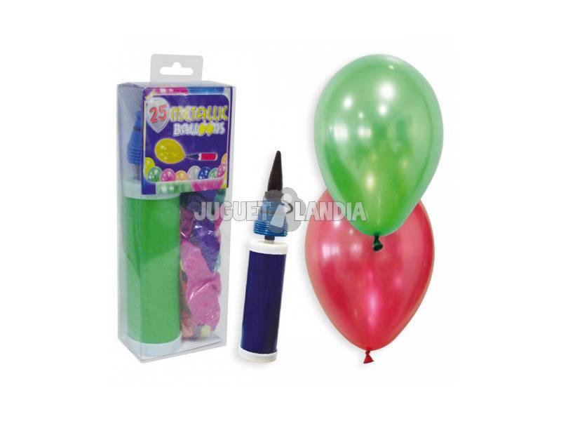 25 Ballons Métallisés Avec Pompe À Air
