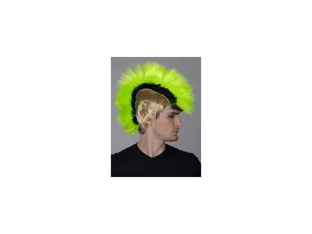 Parrucca Adulto Punk Verde-Nera-Bionda