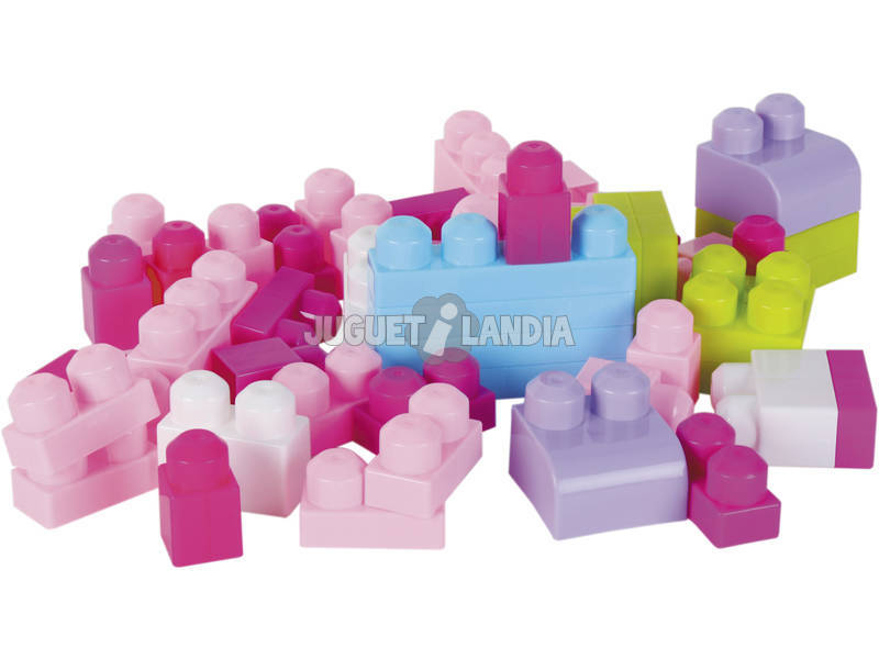 Mochila Bloques Construccion Rosa 52 piezas