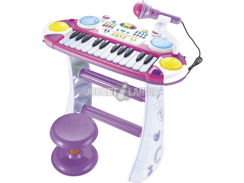 Órgão Eletrônico Rosa com Tamborete