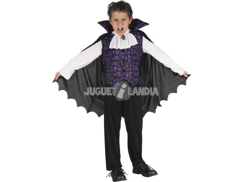Fantasia Vampiro Caveiras Roxas Menino Tamanho XL