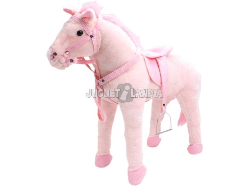 Caballo rosa 71 cm con silla de montar