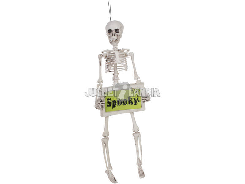 Esqueleto com cartaz assustador