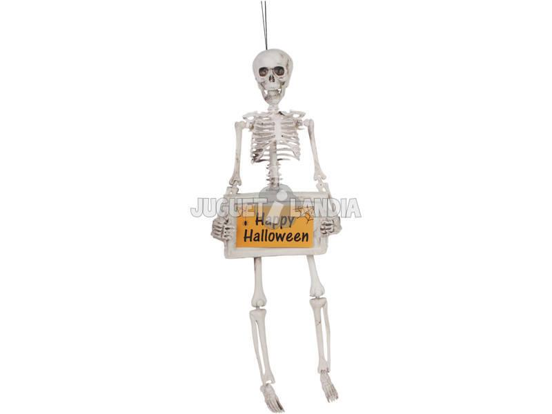 Esqueleto con Cartel Halloween