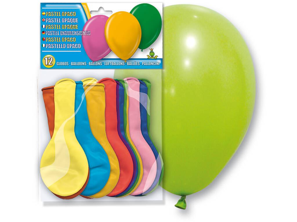 Bolsa de 12 globos colores opaco Globolandia 5106