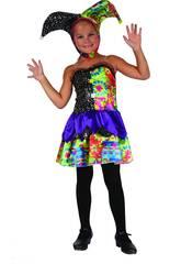 Maschera Pagliaccia Buffona Colori Bambina Taglia S