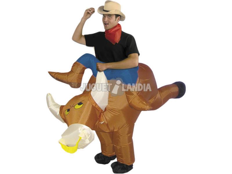 Maschera Gonfiabile Cavaliere di Rodeo con Toro