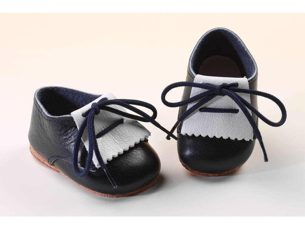 Sapato Franja Couro Azul e Branco