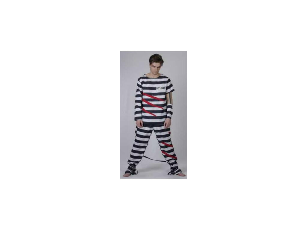 Maschera Carcerato Uomo Righe Taglia XL