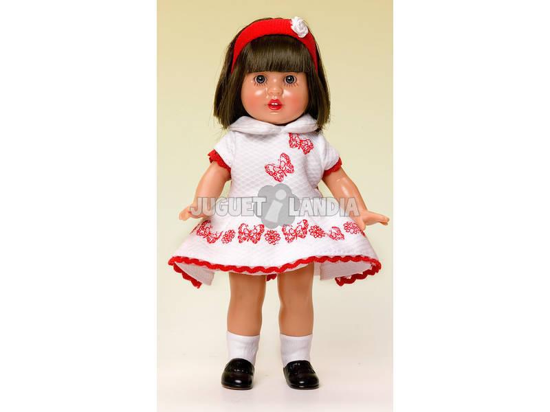 Mini Mariquita Pérez Vestido Pique Branco e Vermelho