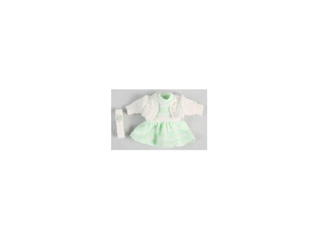 Mini Vestido de Ponto Verde e Bege
