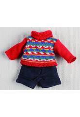 Mini Pantalon Court Bleu Marine et pull rouge.