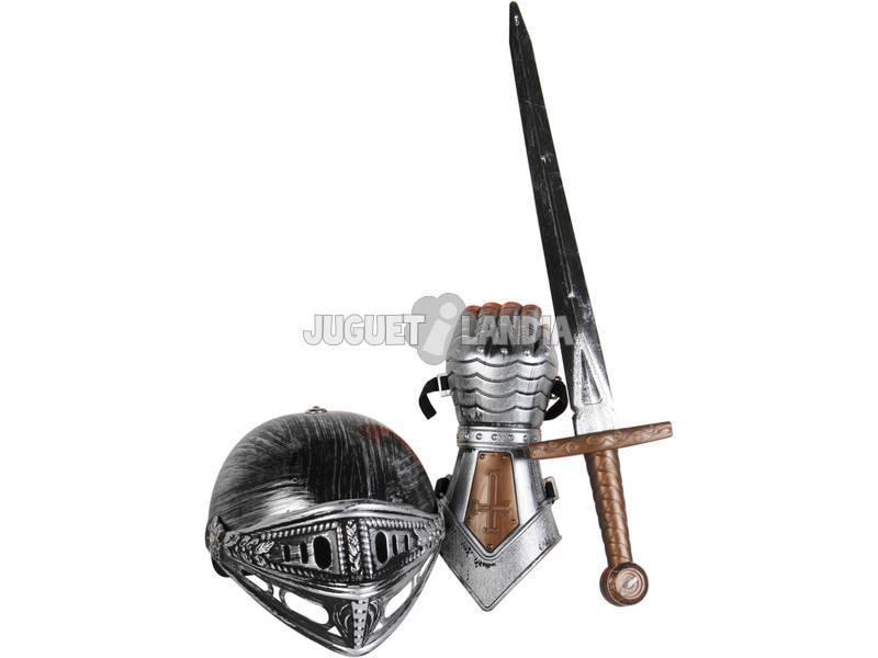 Definir cavaleiro com espada, capacete e luva