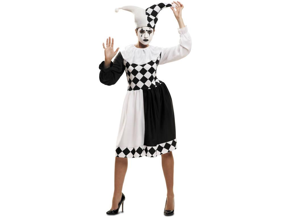 Costume Arlecchino Bianco e Nero Donna L