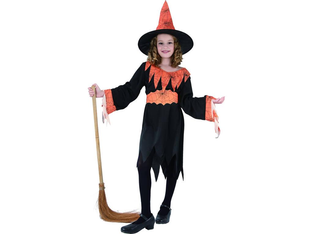 Disfraz Bruja Araña Naranja Niña Talla L