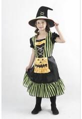 imagen Disfraz Bruja Calabaza Verde Niña Talla M