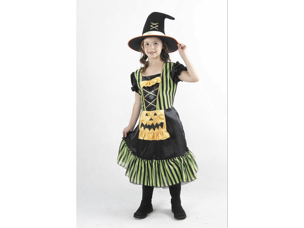 Disfraz Bruja Calabaza Verde Niña Talla L