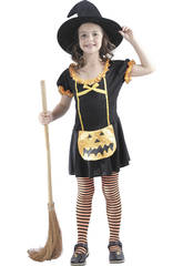 imagen Disfraz Bruja Calabaza Feliz Niña Talla M