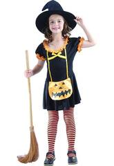 imagen Disfraz Bruja Calabaza Feliz Niña Talla L