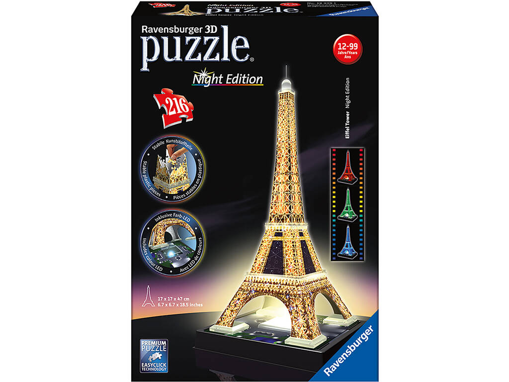 Puzle 3D Building Torre Eiffel Night