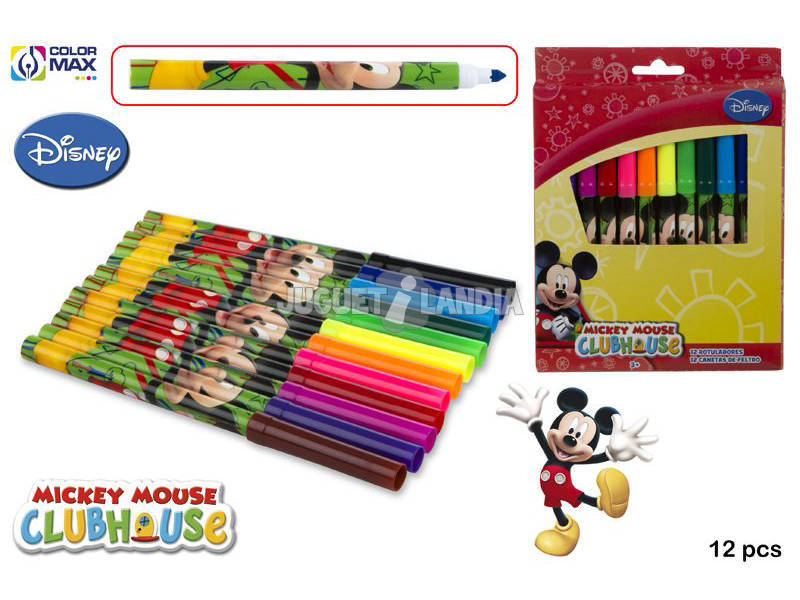 Set 12 Rotuladores Colores Punta Gruesa Mickey