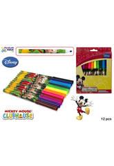 Set 12 Rotuladores Colores Punta Gruesa Mickey