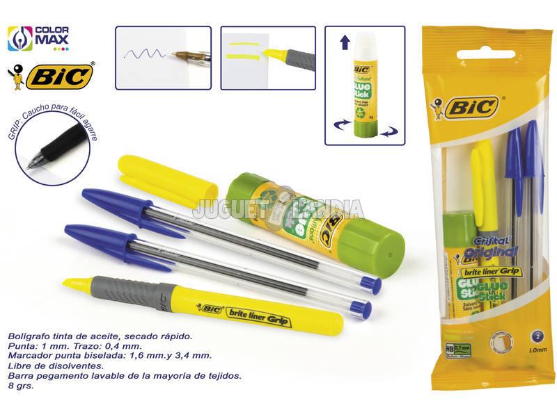 Set 2 Boligrafos Bic Cristal y Marcador Brite Line