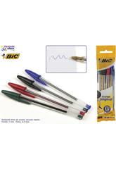 Bolígrafos Bic Cristal Bolsa 4 Surtidos