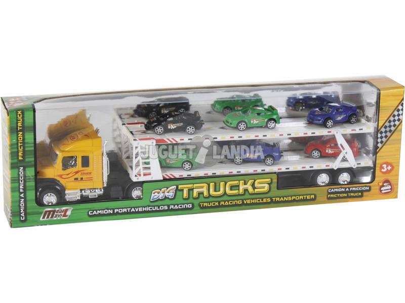 Camion 57 cm, trasporta macchinine, con 6 macchinine
