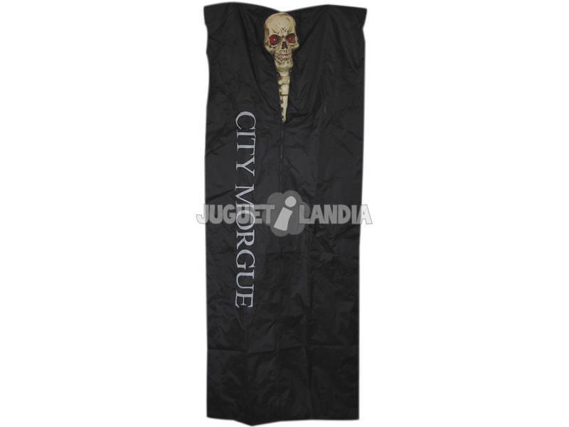 Esqueleto con luz y bolsa negra para cadaveres