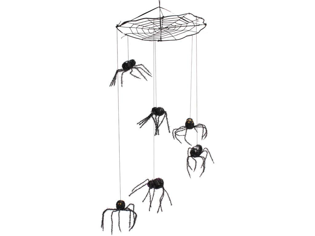 Teia de Aranha Suspensa com Aranhas