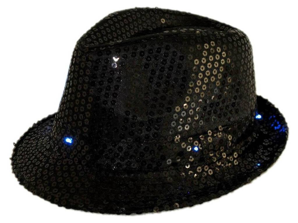 Sombrero Gangster Negro Con Luz