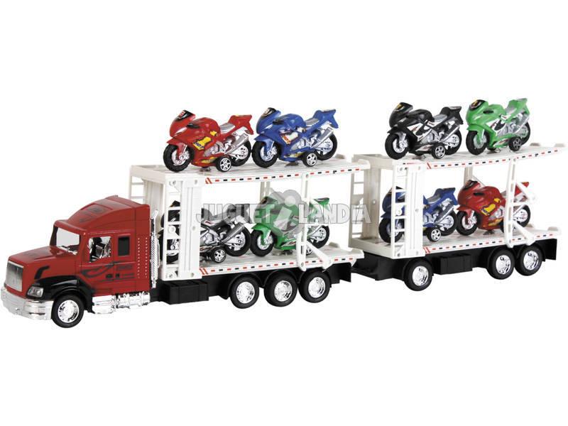 Camião Porta - motas com Reboque e 8 Motas