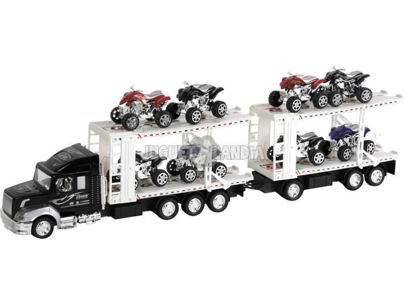 Veículo Sortido Camião com Reboque Porta 8 Quads 61x10x7cm
