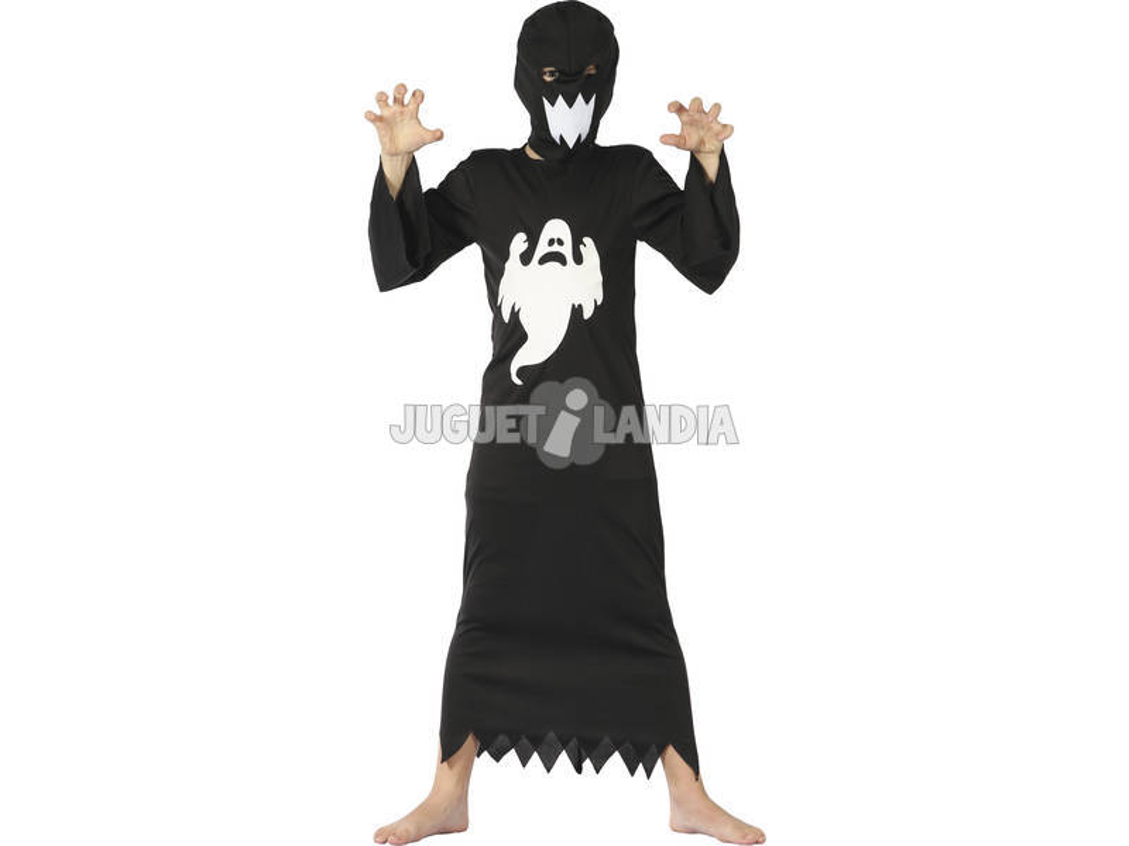 Disfarce Fantasma Negro Menino Tamanho XL