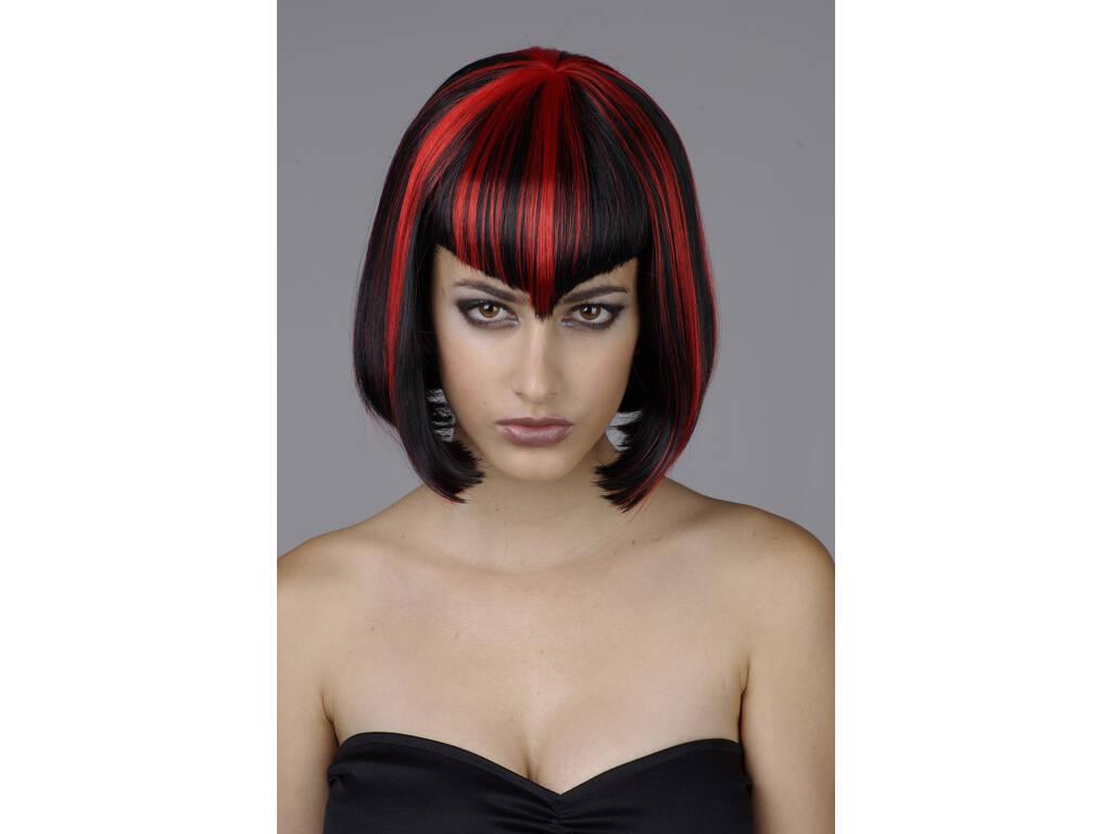 Parrucca adulto Corta nera e rossa