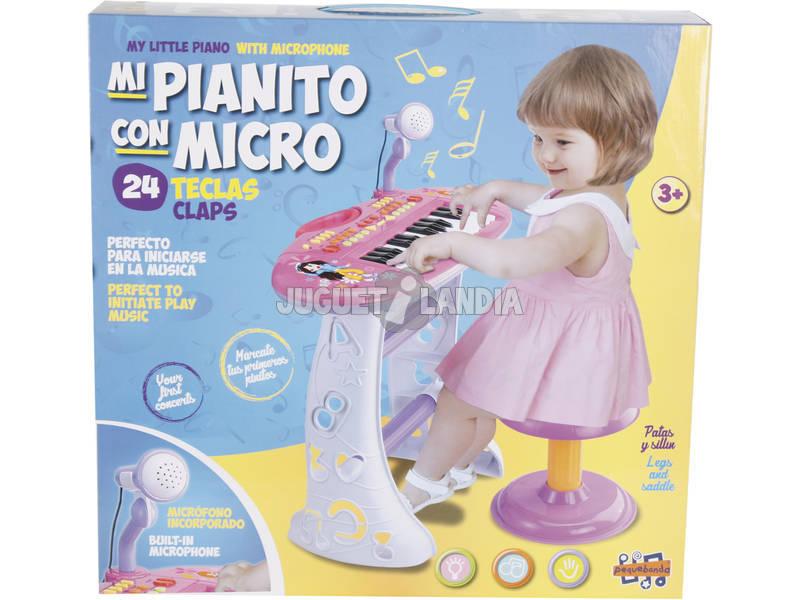 Instrumento Musical Piano Com Banqueta Rosa 3 anos
