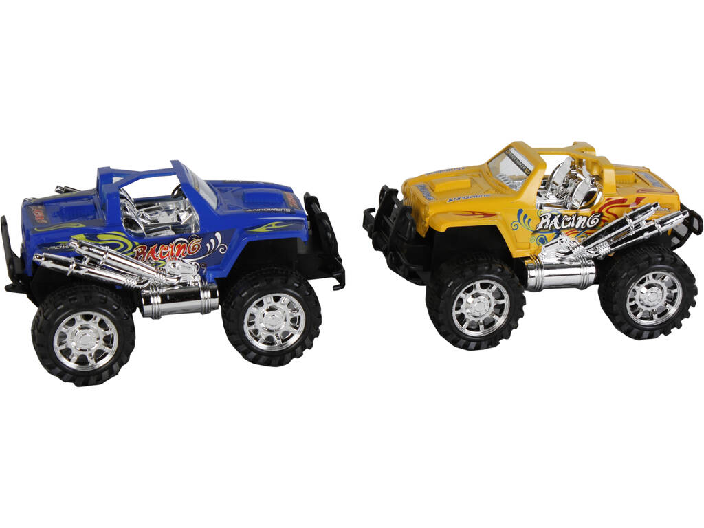 Set 2 Coches 20 cm.Friccion 4x4 Amarillo y Azul