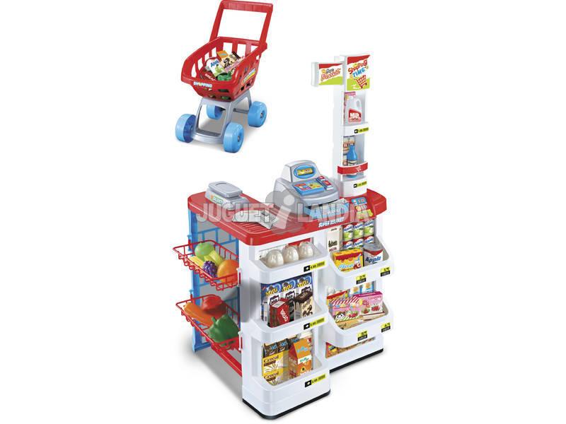 Supermercado com carrinho de compras e acessórios